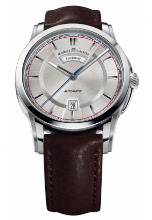 MAURICE LACROIX Pontos Day/Date Retro Silver Dial Mens Watch 40mm