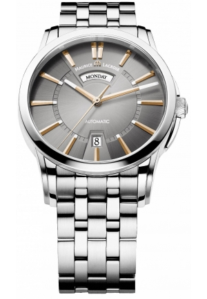 MAURICE LACROIX Pontos Day and Date Grey Dial Automatic Men's Stainless Steel Watch 40mm