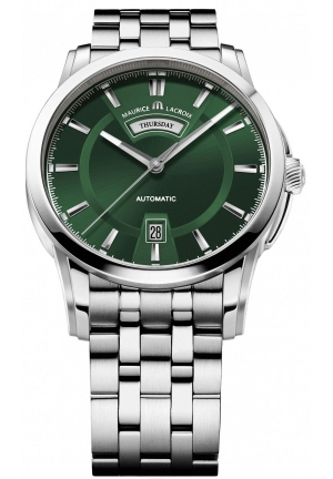 MAURICE LACROIX Pontos Day and Date Green Dial Automatic Men's Stainless Steel Watch 40mm