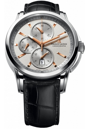 MAURICE LACROIX Pontos Silver Dial Leather Men'ss Watch 43mm
