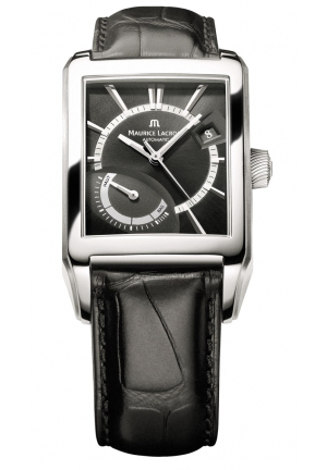MAURICE LACROIX Pontos Black Dial Black Leather Men's Watch