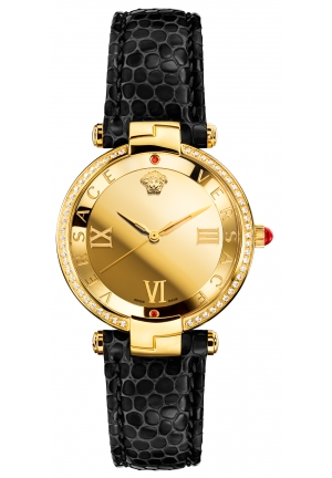 Versace Women's Rêvive Gold IP Black Leather