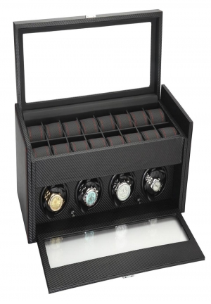 Quad Automatic Watch Winder Display Storage Box 34-704 Diplomat Modena 4 Black