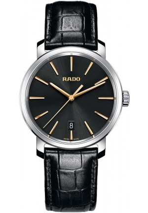 RADO Diamaster XL Quartz Black Leather Mens Watch R14078165