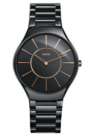 RADO True Thinline Black Ceramic Mens Watch R27742152 39mm