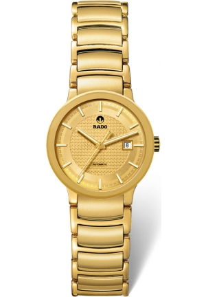 RADO Centrix Automatic Gold Dial Yellow-Gold Plated Stainless Steel Ladies Watch R30279253 31mm