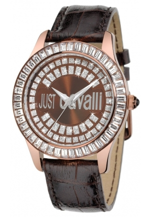 Just Cavalli Women's Gold Ion-Plated Coated Stainless Steel Brown Genuine Leather Swarovski Crystal Watch