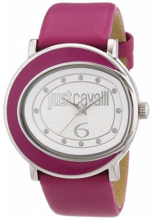 Just Cavalli Women's  Lac Stainless Steel Hot Pink Genuine Leather Swarovski Crystal Watch