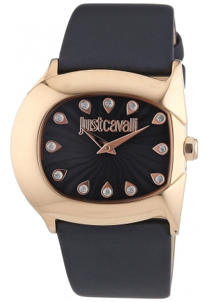Just Cavalli Gold Plated Stainless Steel Case Black Calfskin Mineral Women's Watch 37mm