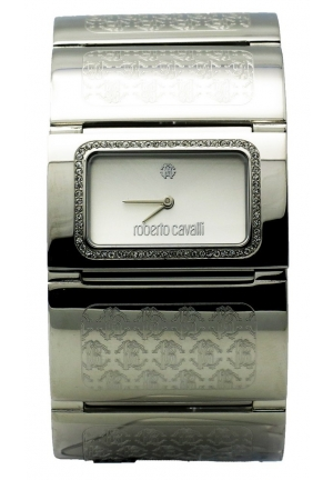 Roberto Cavalli Pavon Women's White Stone Rectangular Analog Bracelet Watch