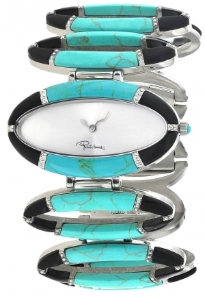 Roberto Cavalli Women's R7253159025 Turquoise and Black/Silver Stainless Steel Watch
