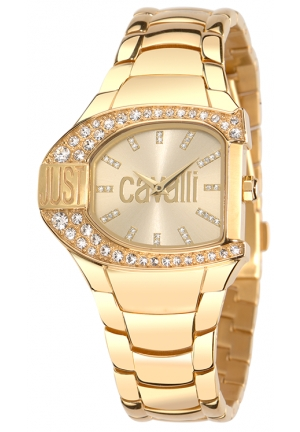 Just Cavalli Women's Yellow Gold Ion-Plated Coated Stainless Steel Swarovski Crystal Watch