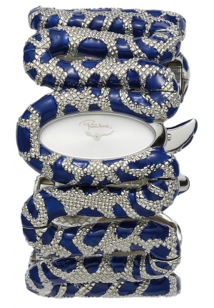 Roberto Cavalli Women's  Blue and Silver/Silver Stainless Steel Watch
