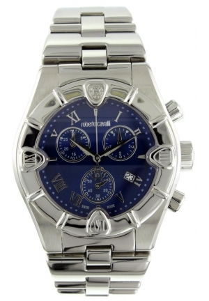 Women's Stainless Steel Case and Bracelet Blue Dial Date Display Chronograph