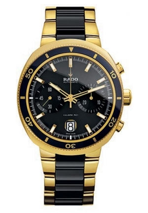RADO D-Star 200 Chronograph Automatic Yellow Gold PVD and Black Ceramic Mens Watch R15967162