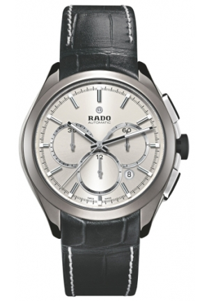 RADO Hyperchrome Automatic Silver Dial Black Leather Mens Watch R32276105 51mm