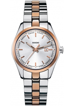 RADO Hyperchrome Silver Dial Two-tone Ceramos and Steel Ladies Watch R32087102  37.5mm