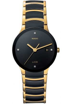 RADO Jubile Diamond Dial (1/10 ct. t.w.) Black Ceramic and Gold PVD Bracelet R30929712 38mm