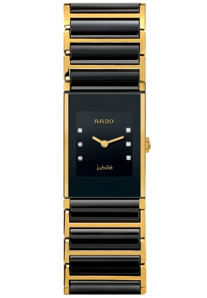 RADO Jubile Diamond Dial (1/4 ct. t.w.) Gold PVD and Black Ceramic Bracelet R20789752 24.8 x 19.2mm