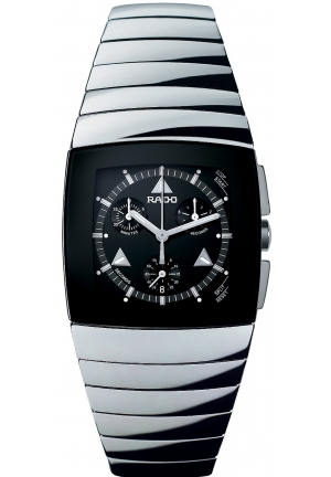 RADO Men's Black Chronograph Sintra Platinum Ceramic Bracelet R13777152