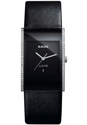 RADO Women's Jubilé Diamond Bezel (1/4 ct. t.w.) Black Leather Strap R20759155