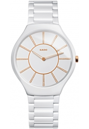 RADO Women's Swiss Diamond Accent White Ceramic Bracelet R27957702 39mm