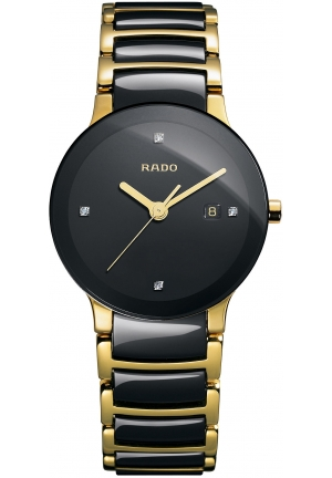 RADO Women's Swiss Diamond Black Ceramic and Gold PVD Stainless Steel Bracelet R30930712 31.1 mm