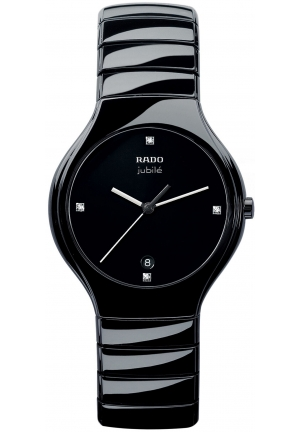 RADO mens True Diamond Dial (1/3 ct. t.w.) Black Ceramic Bracelet R27653742