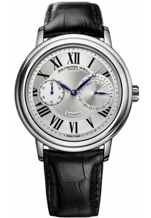 RAYMOND WEIL Maestro Silver Dial Black Leather Mens Watch 41.5mm