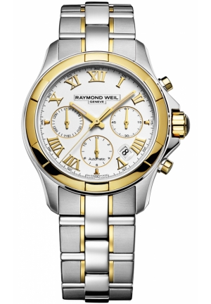RAYMOND WEIL Parsifal White Dial Stainless Steel and 18kt Gold Mens Watch 41mm