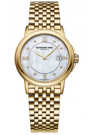 RAYMOND WEIL Tradition Mother of Pearl Dial Gold PVD Stainless Steal Ladies Watch 28mm