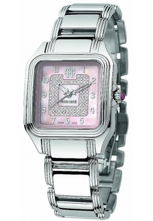 Roberto Cavalli R7253192575 Venom Womens Analog Pink Mother of Pearl Pave Watch