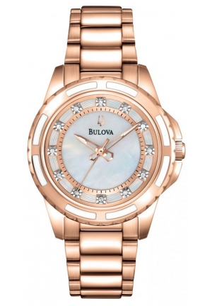 Rose Gold Tone Stainless Steel Diamond Dial Ladies Watch 32mm