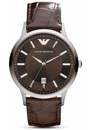 Round Silver & Brown Watch with Crocodile Embossed Strap, 43mm
