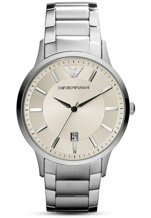 Round Silver & Cream Stainless Steel Watch, 43mm