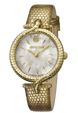 Roberto Cavalli Women's SNAKE LUGS Diamonds Gold Leather Watch