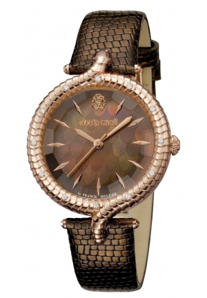 ROBERTO CAVALLI Brown Mother of Pearl Dial Ladies Leather Watch