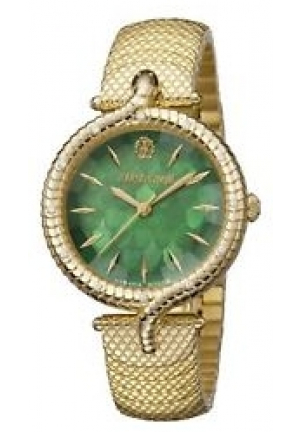 Roberto Cavalli Women's SNAKE LUGS Diamonds Gold IP Steel Watch
