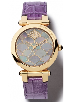 SALVATORE FERRAGAMO Women's Watch in gold IP with mother of pearl 34mm