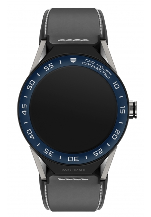 TAG Heuer Connected Modular 45 Blue ceramic & Titanium watch with Grey leather strap - SBF8A8012.11FT6104