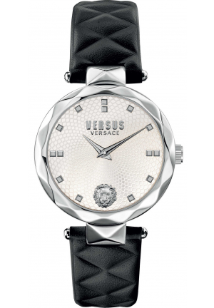 Versus Women's COVENT GARDEN Black Leather Wristwatch