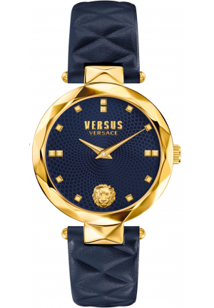 Versus Women's COVENT GARDEN Watch Gold IP Blue Leather