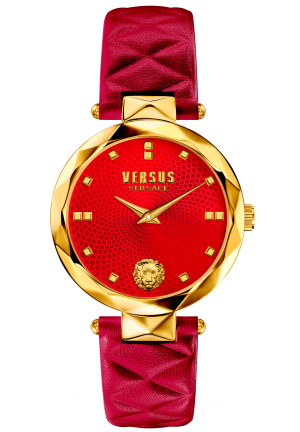 Versus Womens COVENT GARDEN Watch Gold IP Steel Red Leather