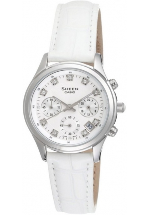 casio SHEEN ladies white leather 38mm