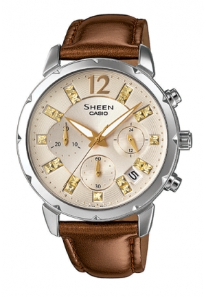 casio SHEEN ladies brown leather 38mm