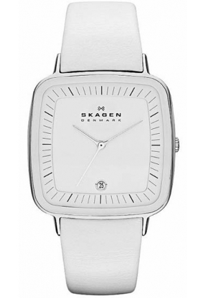 Skagen Designer White Leather Women's Watch