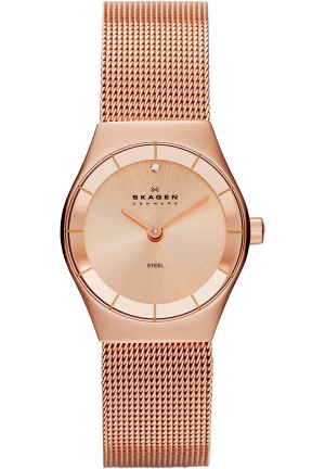 Women's Rose Gold Skagen Klassik Crystal Dress Watch