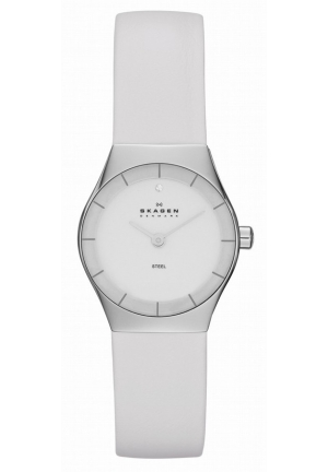 Skagen Watch, Women's White Leather Strap 24mm