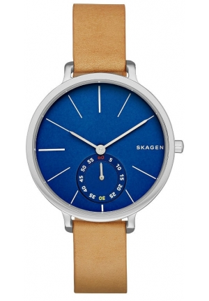 Skagen Hagen Blue Dial Tan Leather Ladies Watch