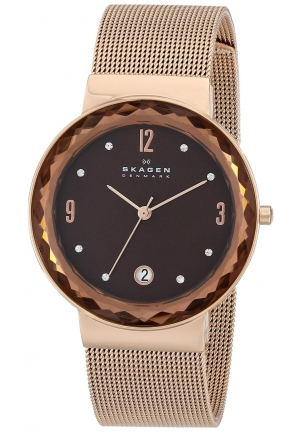 Skagen Klassik Brown Dial Rose Gold-plated Mesh Ladies Watch